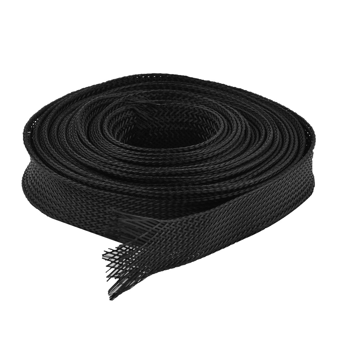 20Ft Long 22mm Wide Nylon Braided Elastic Expandable Sleeving Cable Harness Black