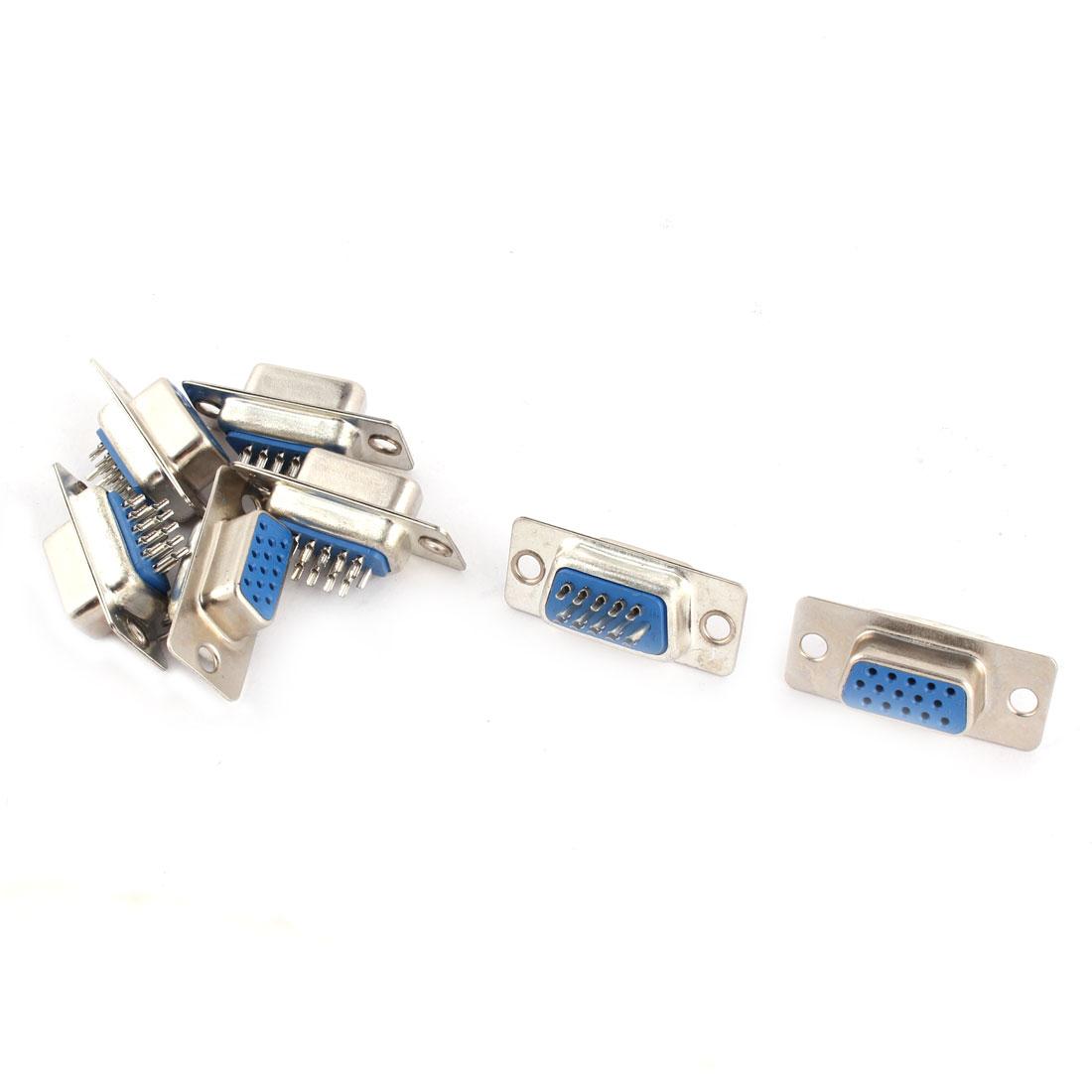 7pcs DB15 15 Pin Female Gender Changer Jack Adapter Solder Connectors