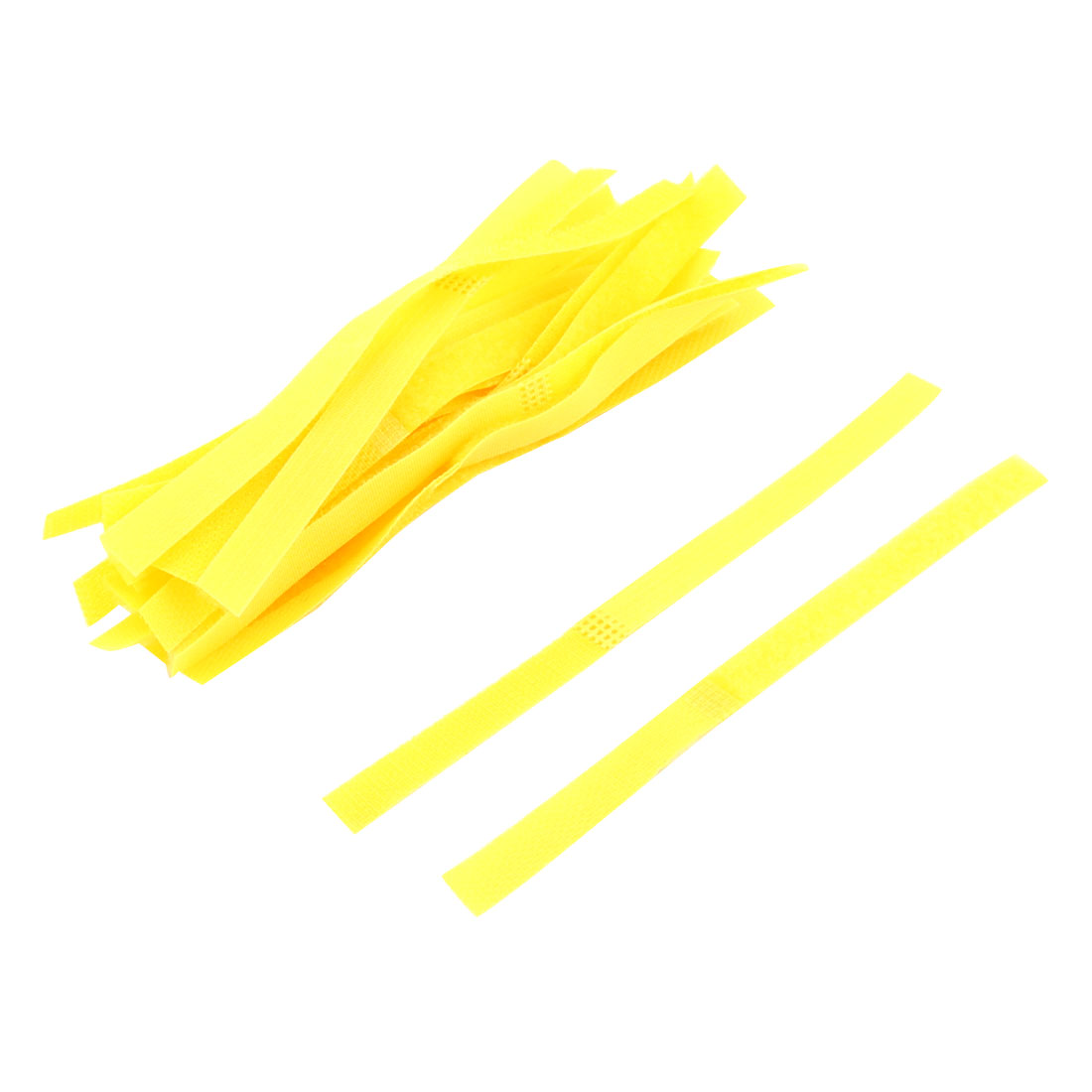 Nylon Loop Fastener Wire Organizer Cable Ties Tape Strap Yellow 20 PCS