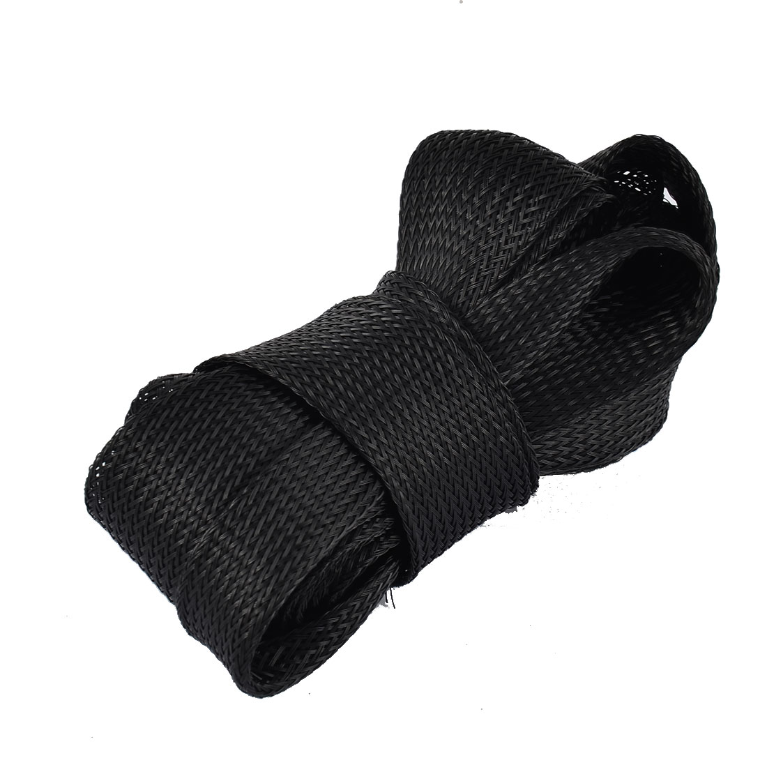 Nylon Braided Expandable Sleeving Cable Sleeve Harness Black 3.8M x 25mm