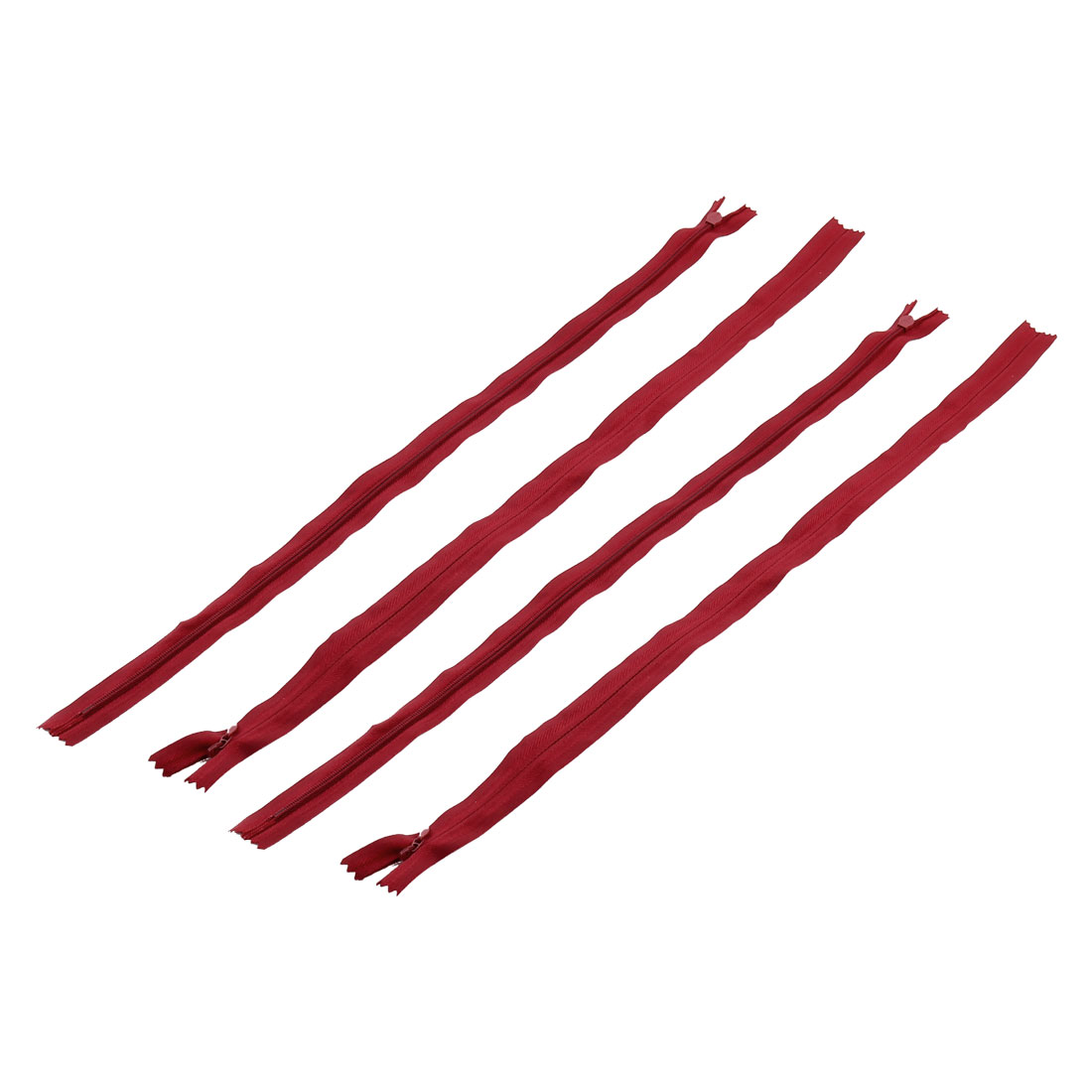 Tailor Sewer Nylon Smooth Invisible Zippers Sewing Tools Red 50cm Length 4PCS