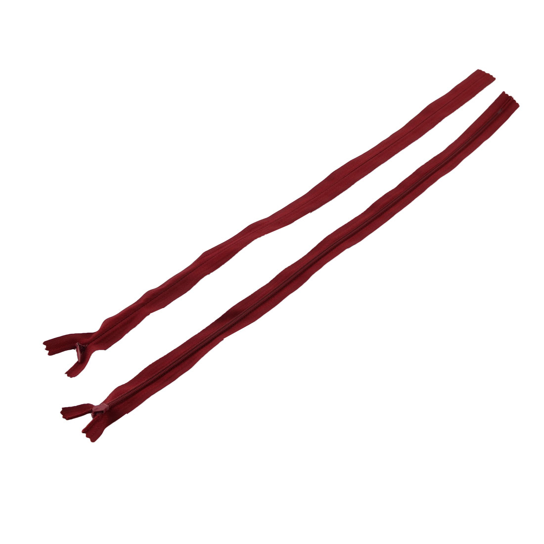 Tailor Nylon Smooth Invisible Zippers Sewing Tools Red 50cm Length 2PCS