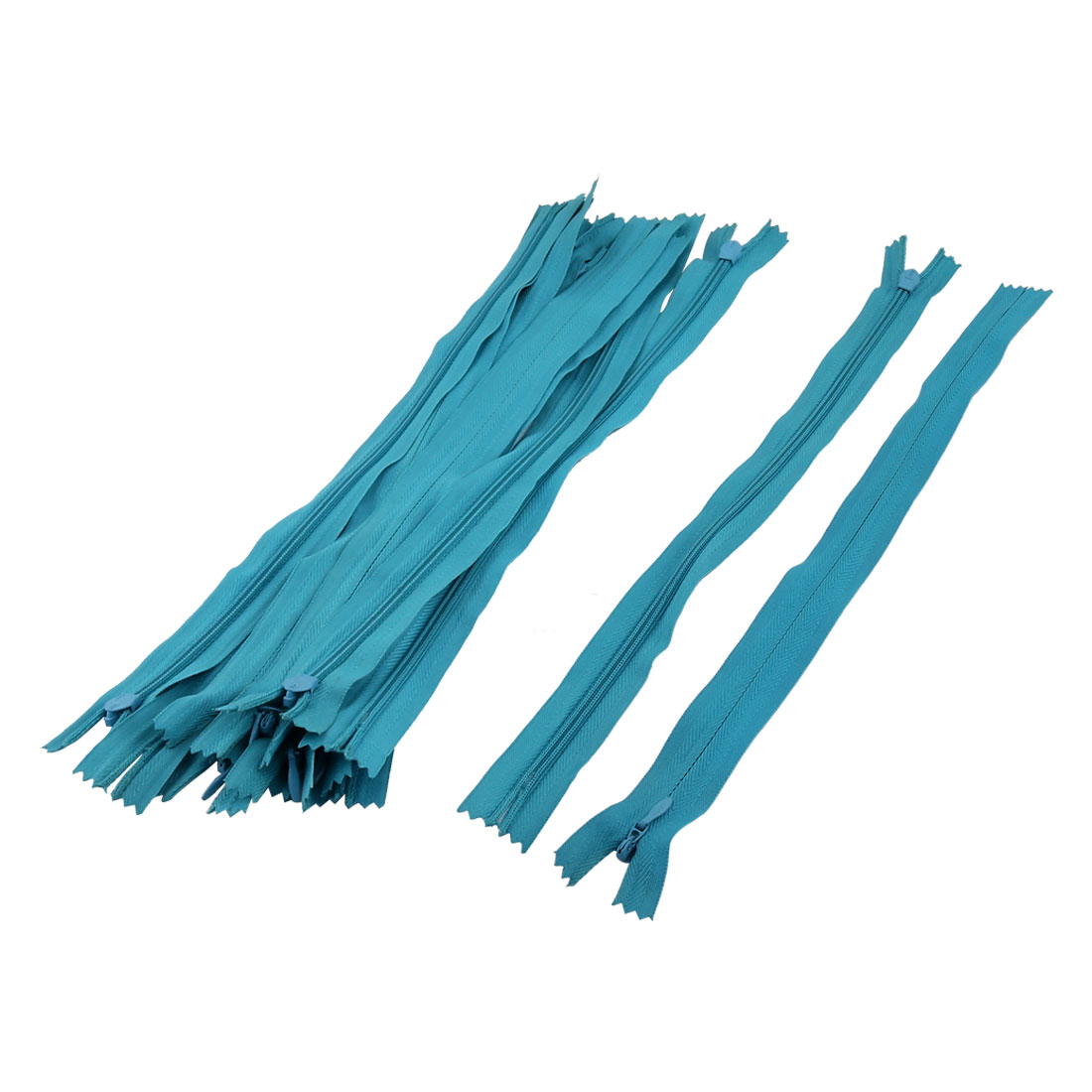 Tailor Sewer Nylon Conceal Invisible Zippers Sewing Tool Light Blue 30cm Length 12PCS