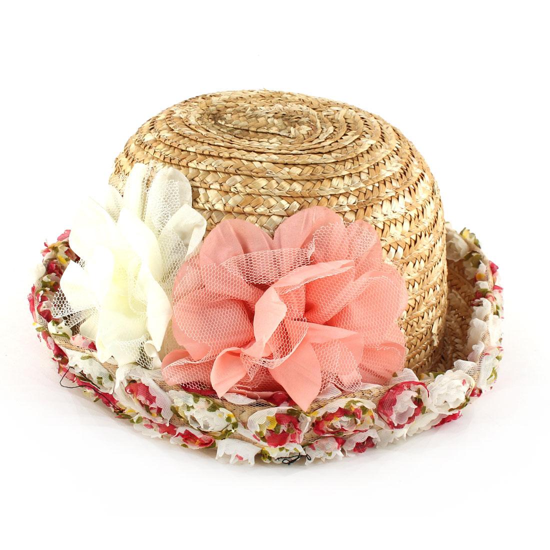 Lady Straw Braided Cap Flower Lace Rolled Brim Summer Beach Sun Hat Beige