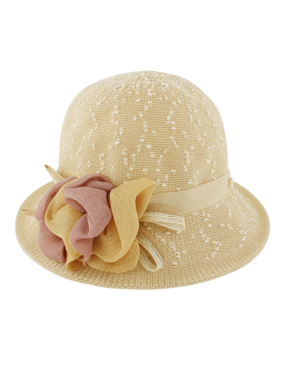 Women Polyester Woven Flower Decor Summer Outdoor Beach Sun Hat Khaki