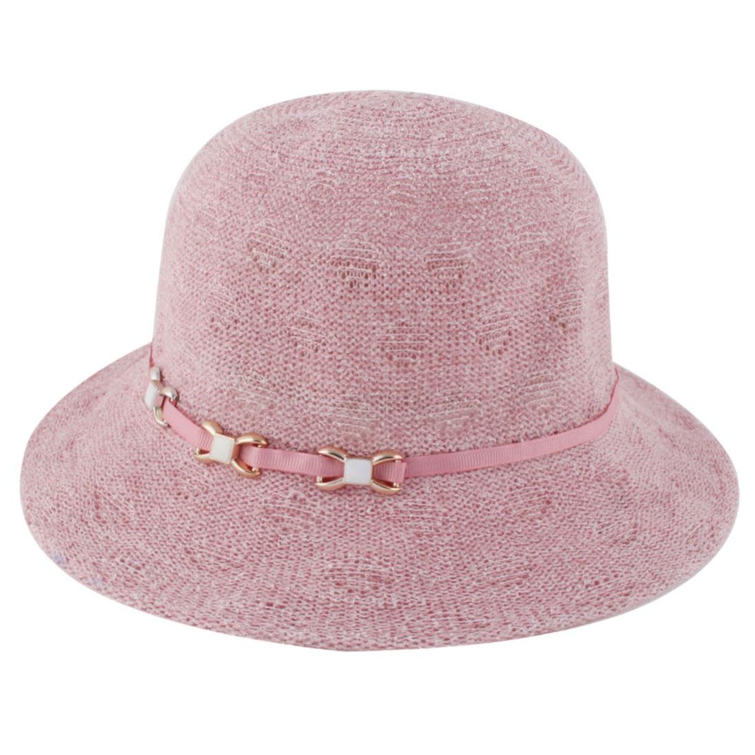 Women Polyester Woven Wide Brim Bowknot Embellished Beach Sun Hat Pink