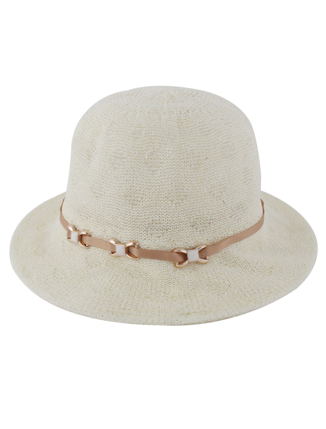 Women Polyester Woven Wide Brim Fashion Outdoor Beach Sun Hat Light Yellow