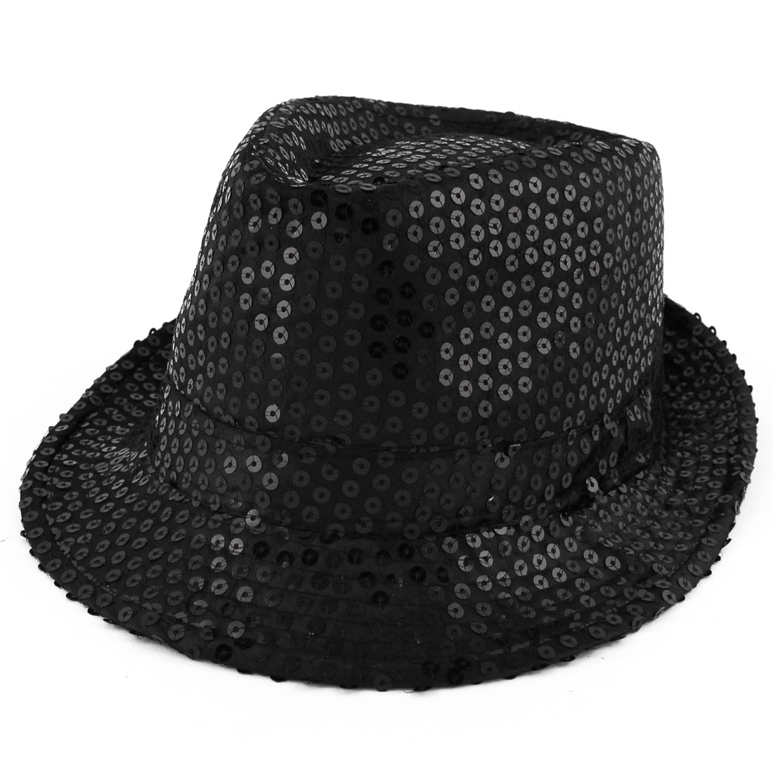 Men Women Sequins Detailing Leisure Style New fashion Bling Jazz Hat Black