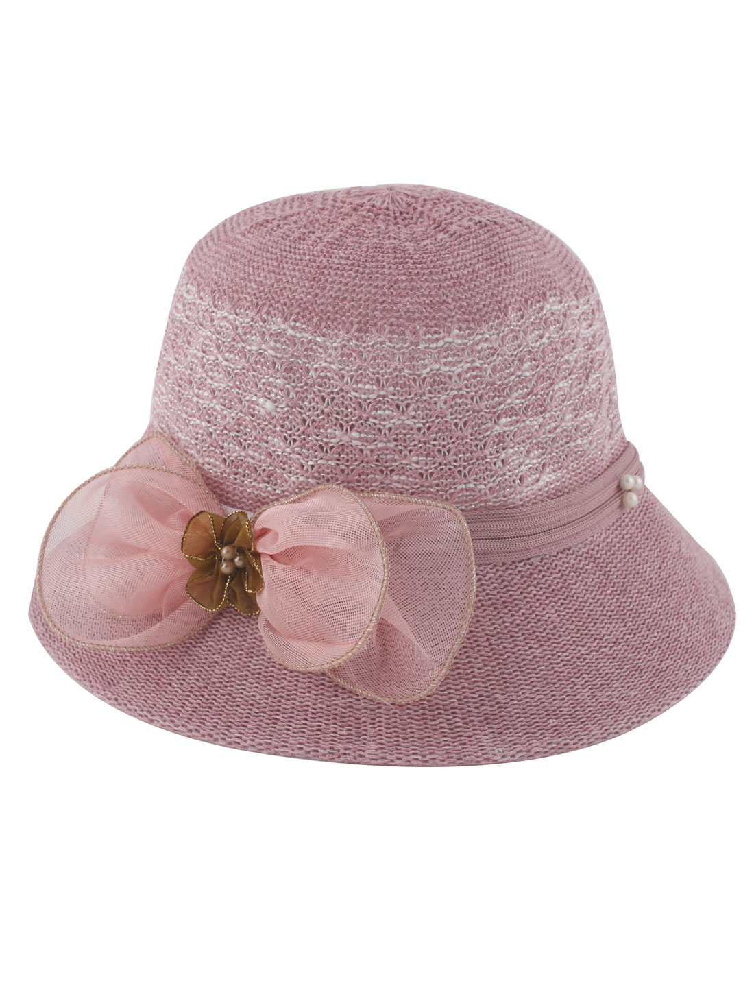 Women Polyester Woven Bowknot Embellished Summer Outdoor Sun Hat Dark Pink