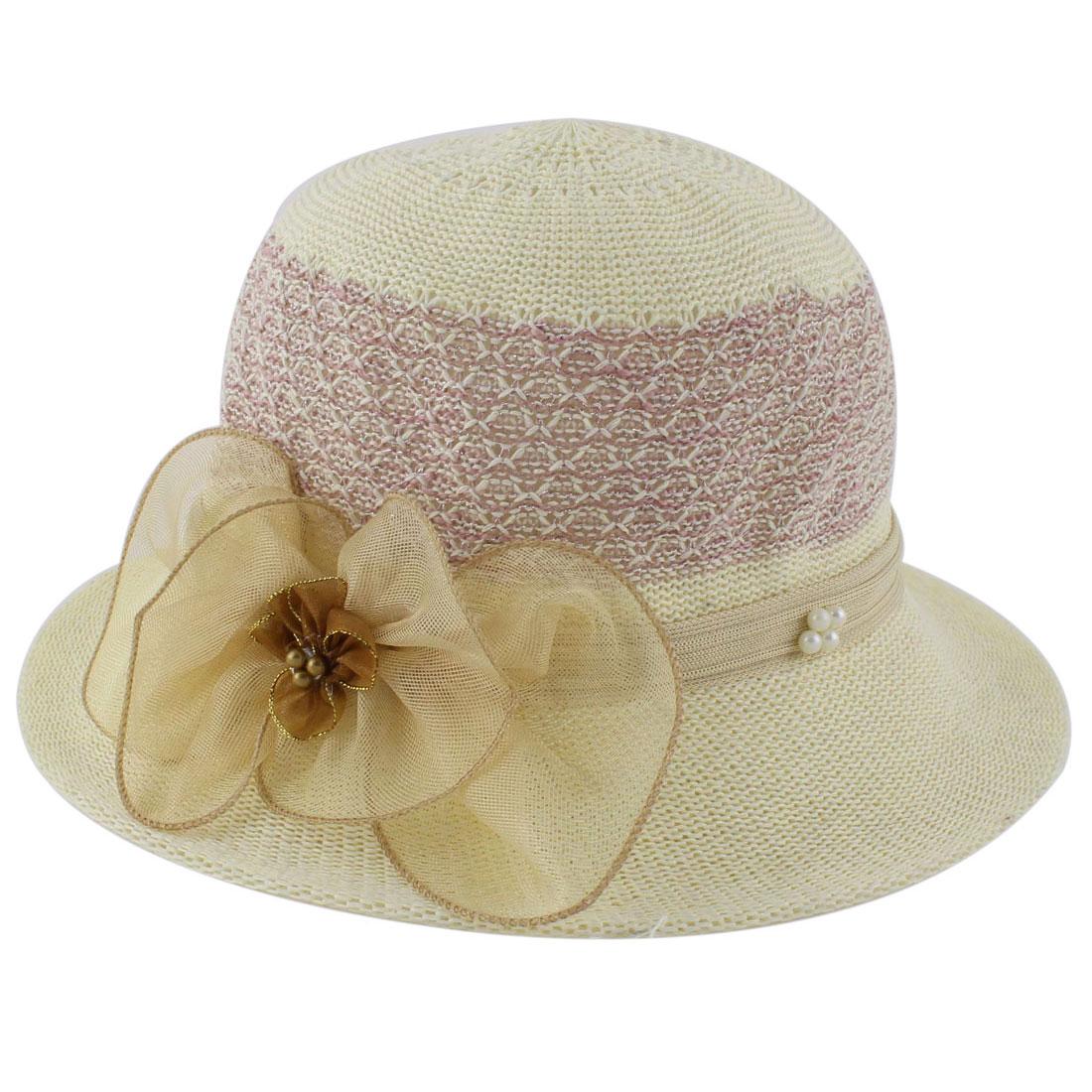 Polyester Flower Decor Wide Brim Summer Leisure Beach Skimmer Hat Beige