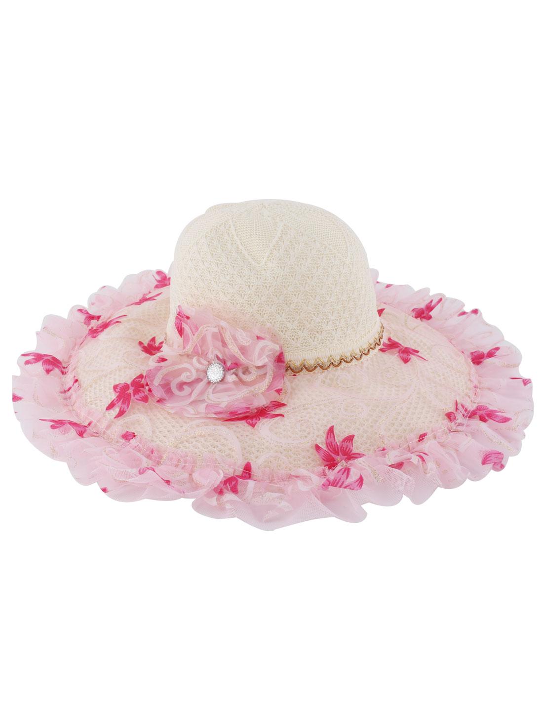 Flower Decor Wide Brim Straw Braided Summer Sun Beach Skimmer Boater Hat Pink