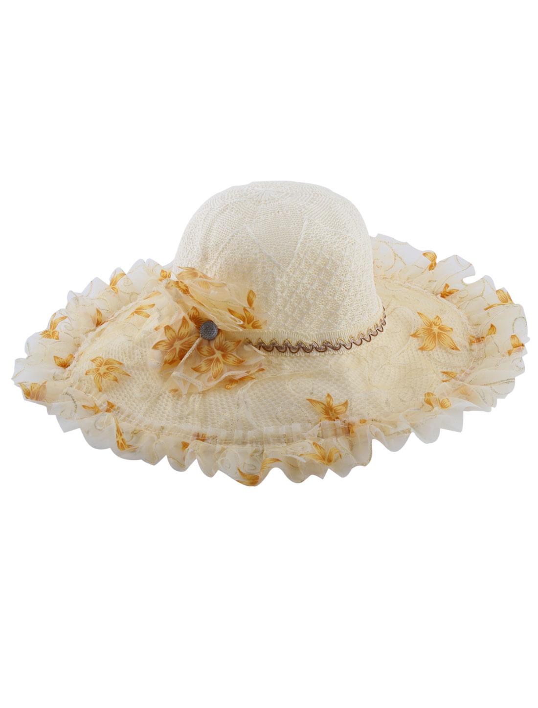 Beige Flower Decor Wide Brim Straw Braided Summer Sun Beach Skimmer Boater Hat