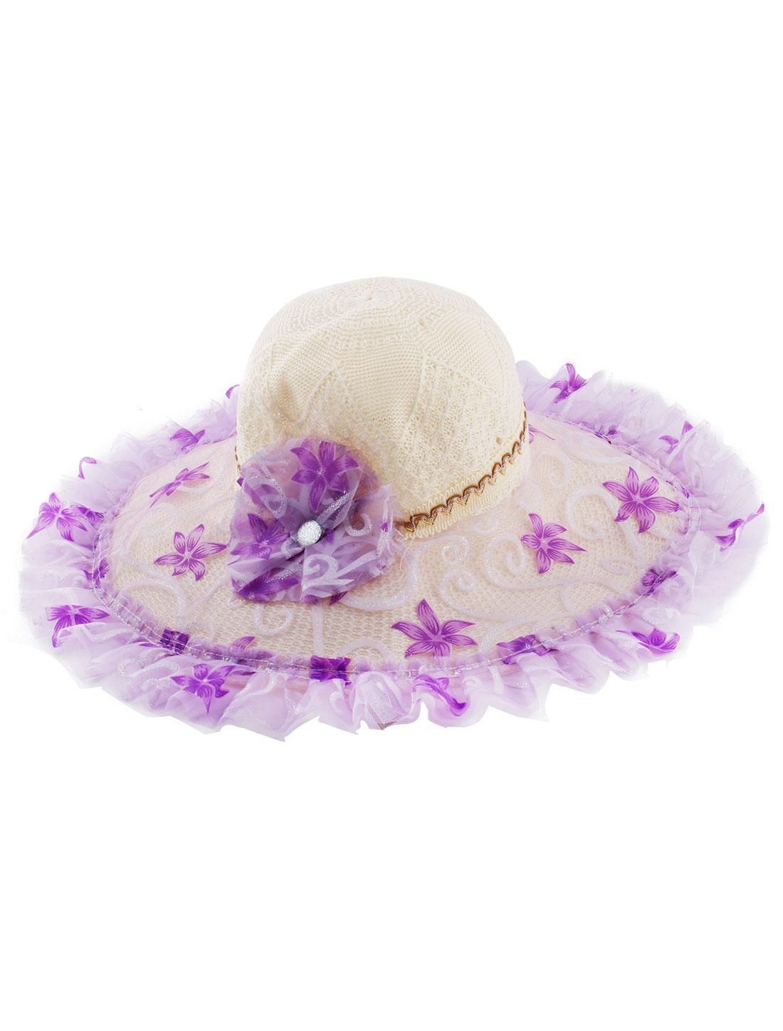 Purple Flower Decor Wide Brim Straw Braided Summer Sun Beach Skimmer Boater Hat