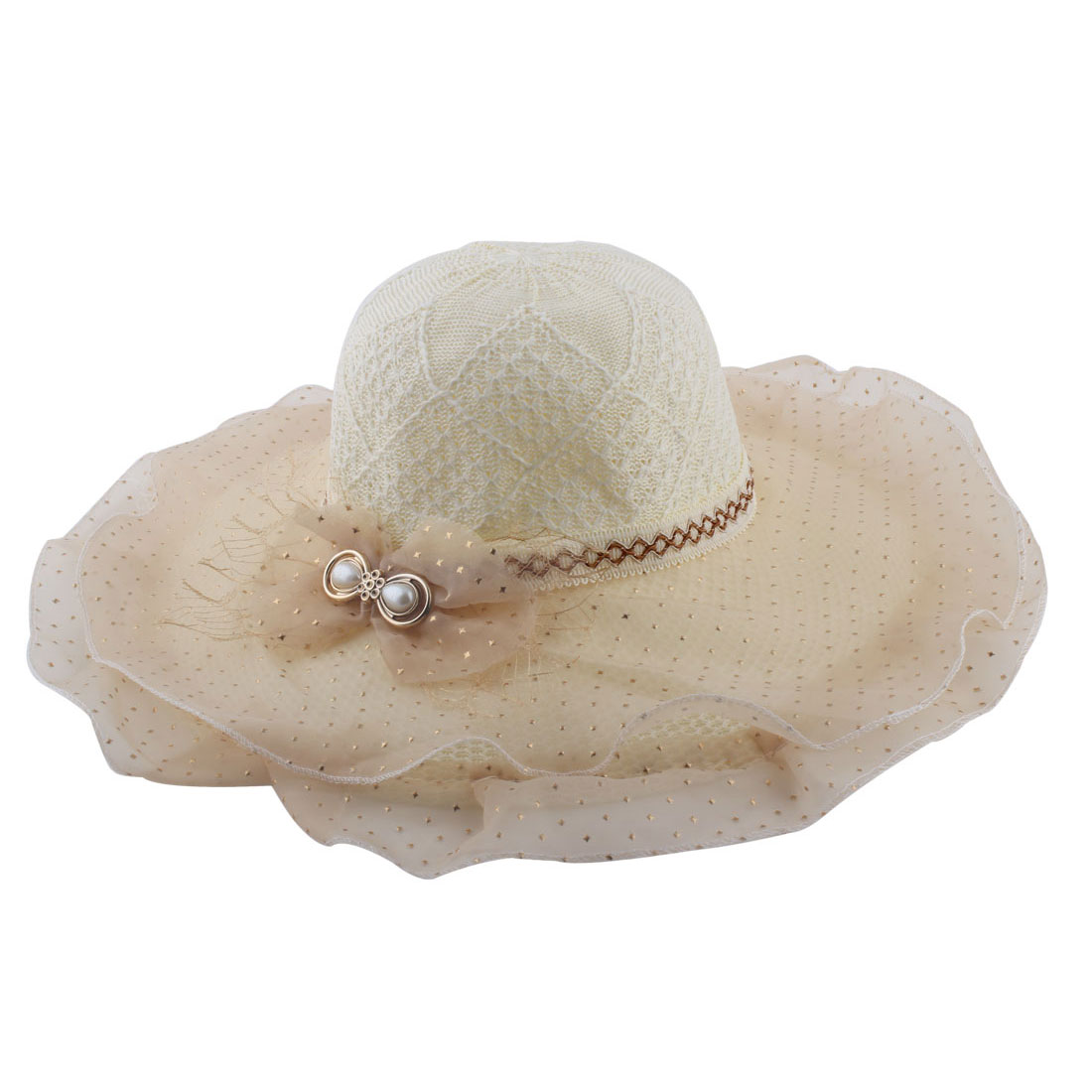 Beige Bowknot Decor Organza Layer Wide Brim Woven Beach Sun Hat for Lady