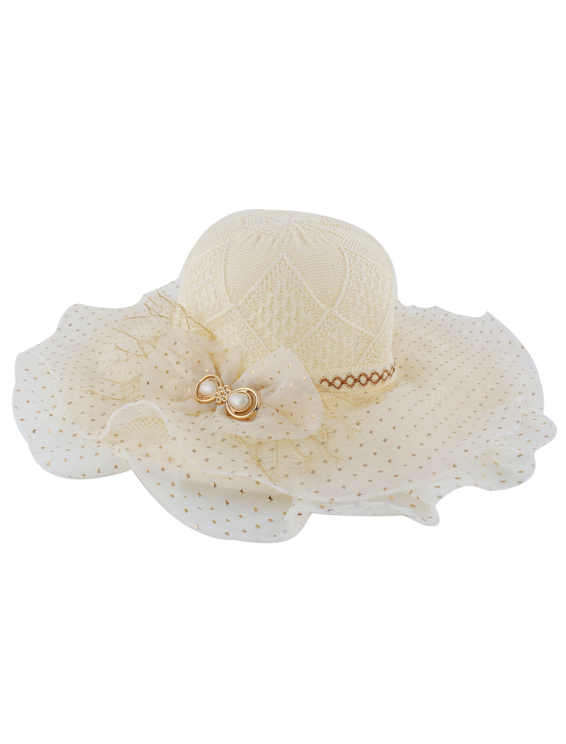 Woman Double Layers Organza Bowknot Detail Woven Sun Cap Hat Beige