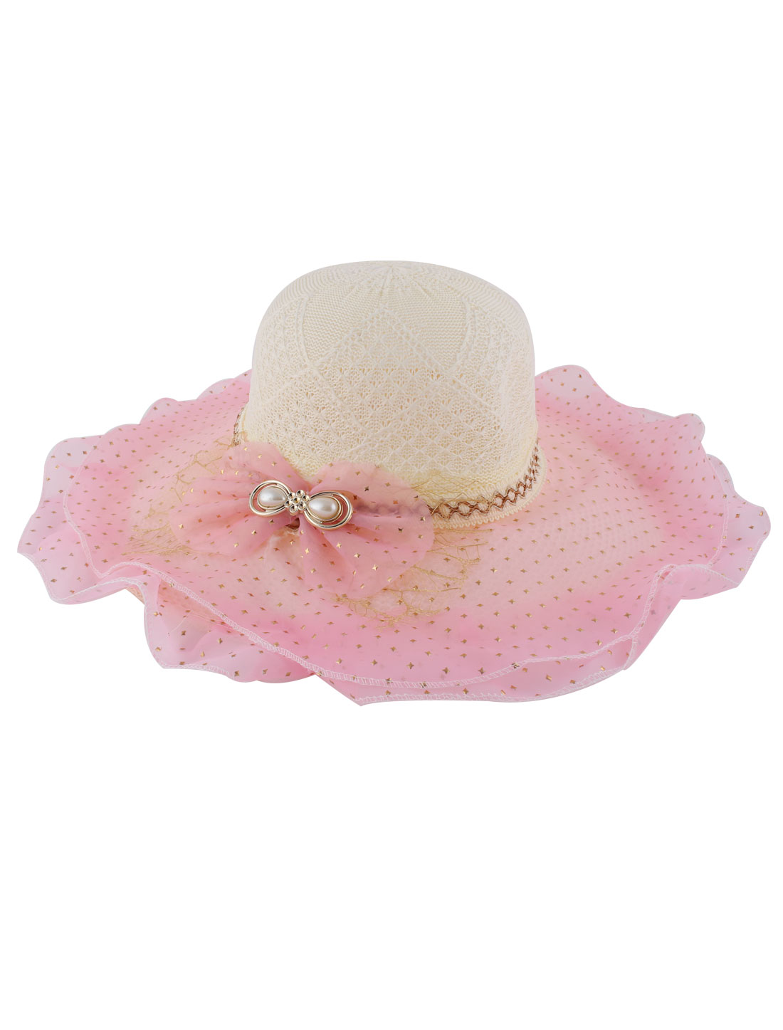 Pink Wide Brim Double Layers Organza Bowknot Decor Beach Sun Hat for Lady