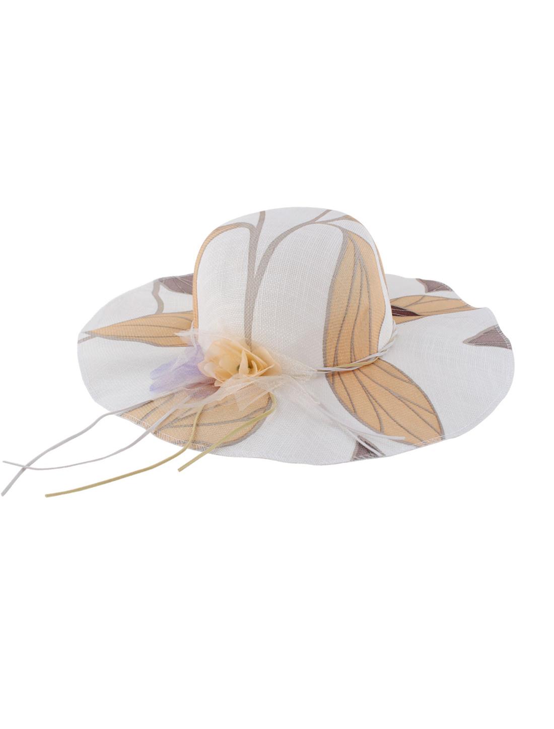 Woman Polyester Flower Decor 11cm Brim Elastic Band Sun Hat Cap Beige Yellow