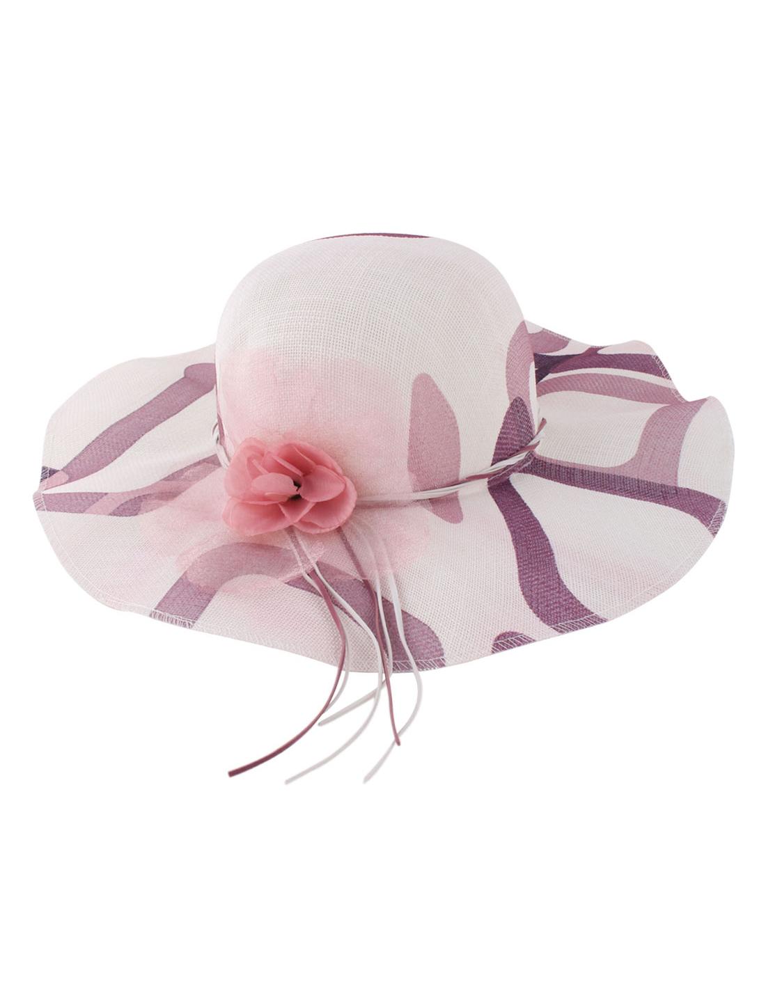 Woman Polyester Flower Decor 11cm Brim Elastic Band Sun Hat Cap Beige Purple