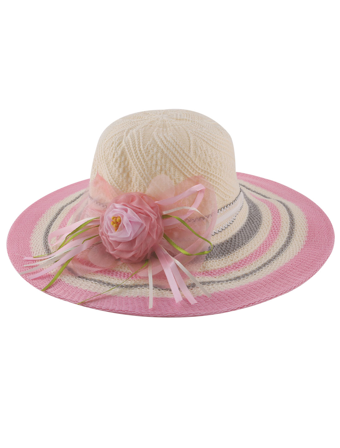 Lady Polyester Braided Pink Organza Floral Decor Chin Strap Beach Sun Hat Wide Brim Beige