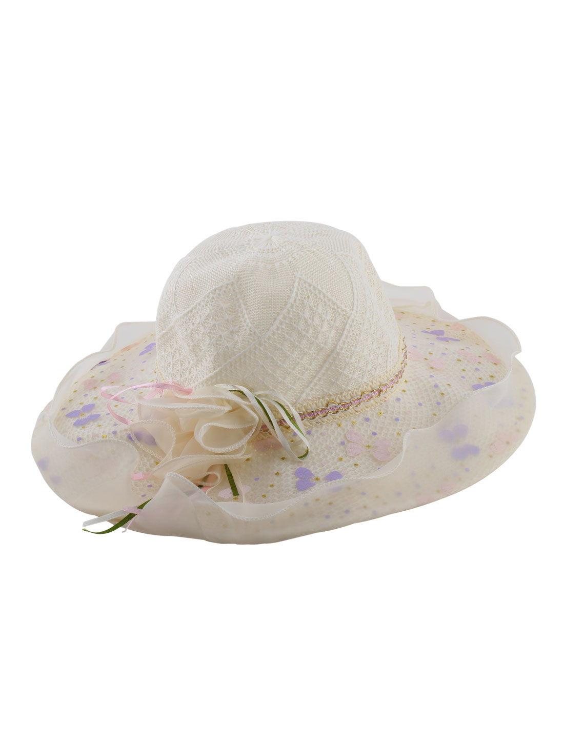 Lady Organza Layer Floral Decor Wide Brim Summer Beach Sun Hat Cap Beige