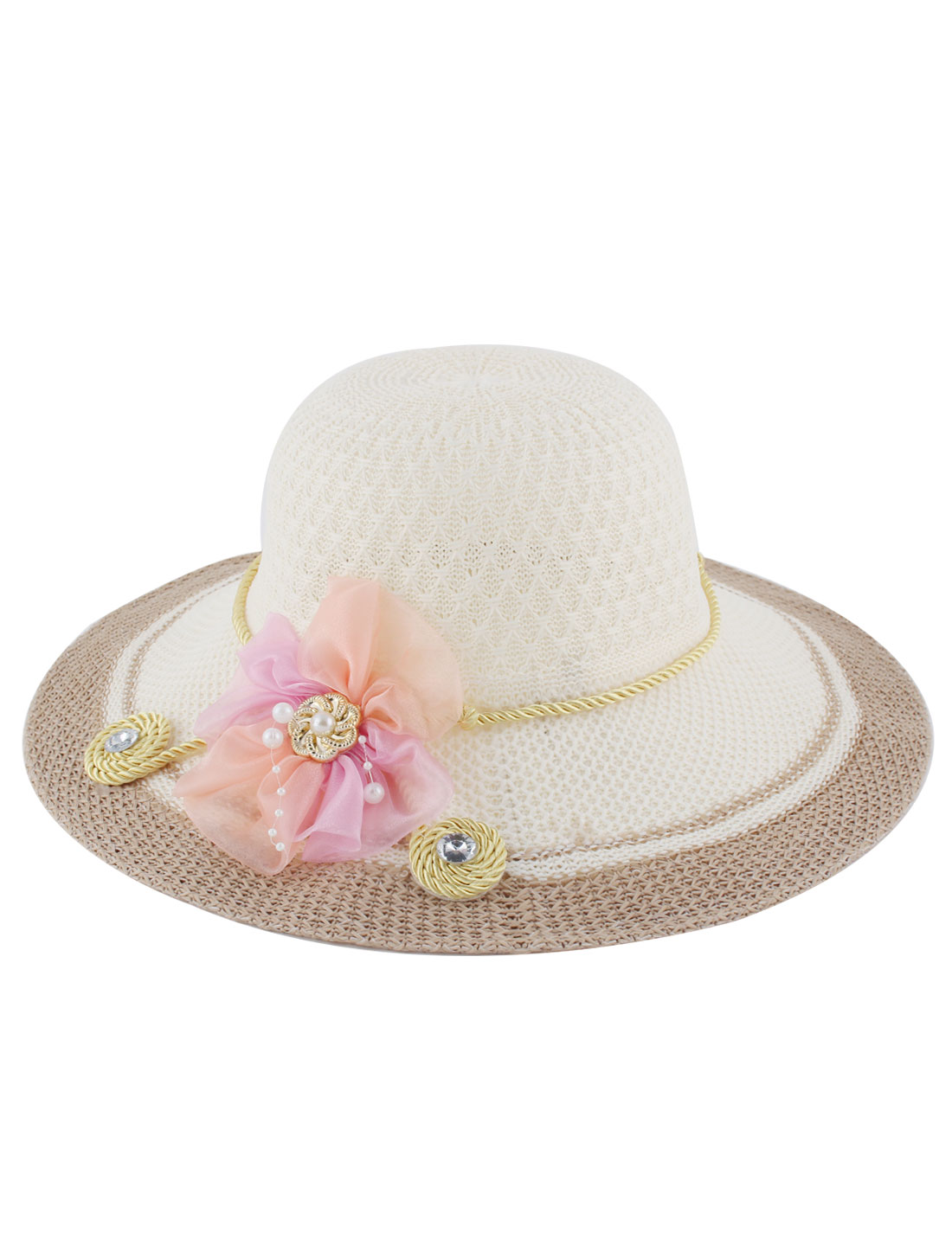 Ladies Polyester Woven Floral Decor Yellow Nylon Rope Breathable Sun Hat Wide Brim Beige