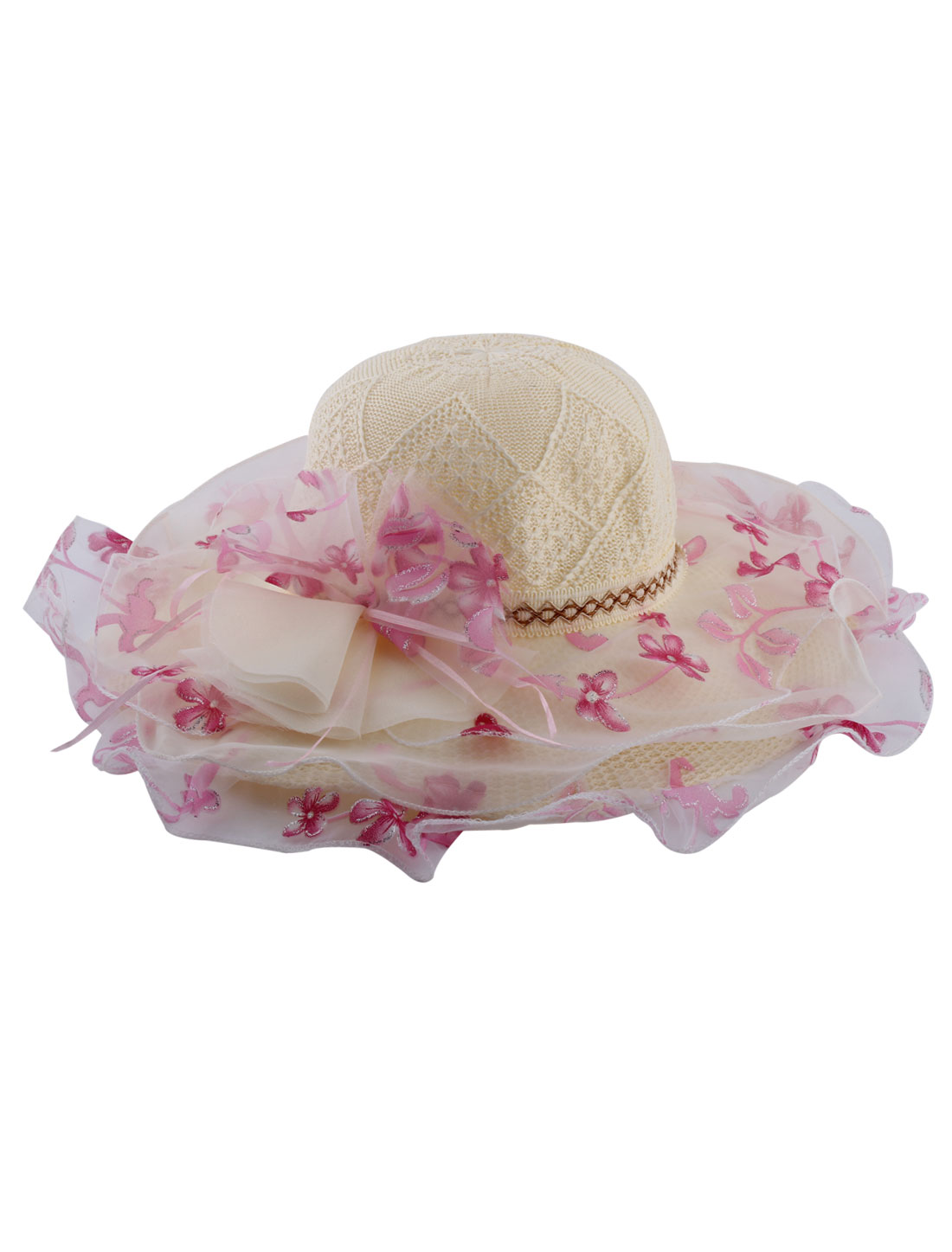 Lady Organza Surrounded Flowers Detail Wide Brim Beach Travel Sun Hat Cap Beige Pink