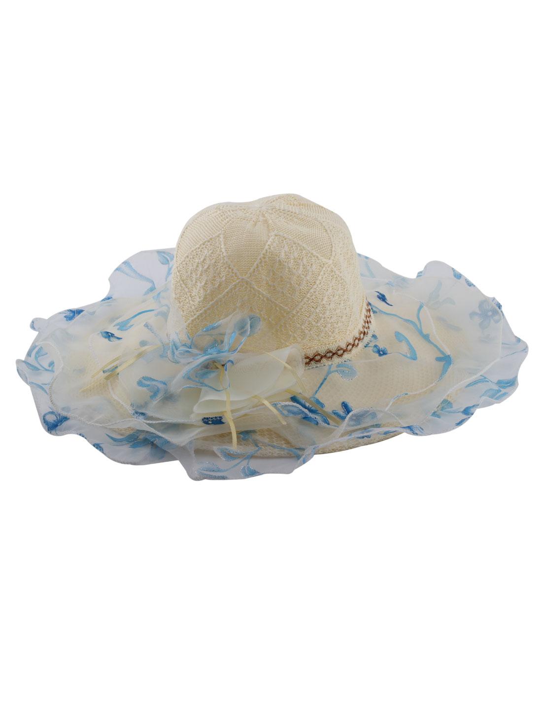 Lady Polyester Woven Organza Flower Decor Wide Brim Beach Sun Hat Cap Beige Blue