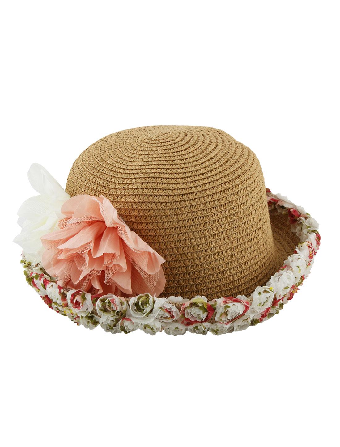 Lady Straw Braided Dual Flower Decor Rolled Brim Beach Sun Bucket Hat Khaki
