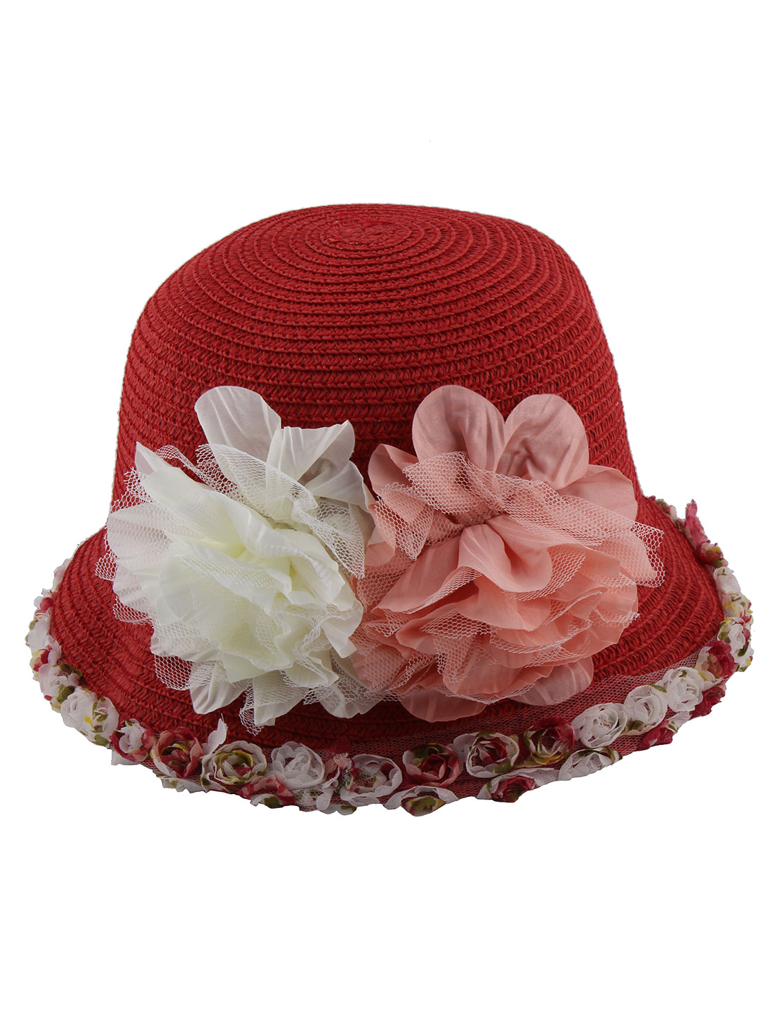 Ladies Straw Woven Summer Outdoors Flowers Decor Rolled Brim Sun Hat Cap Red