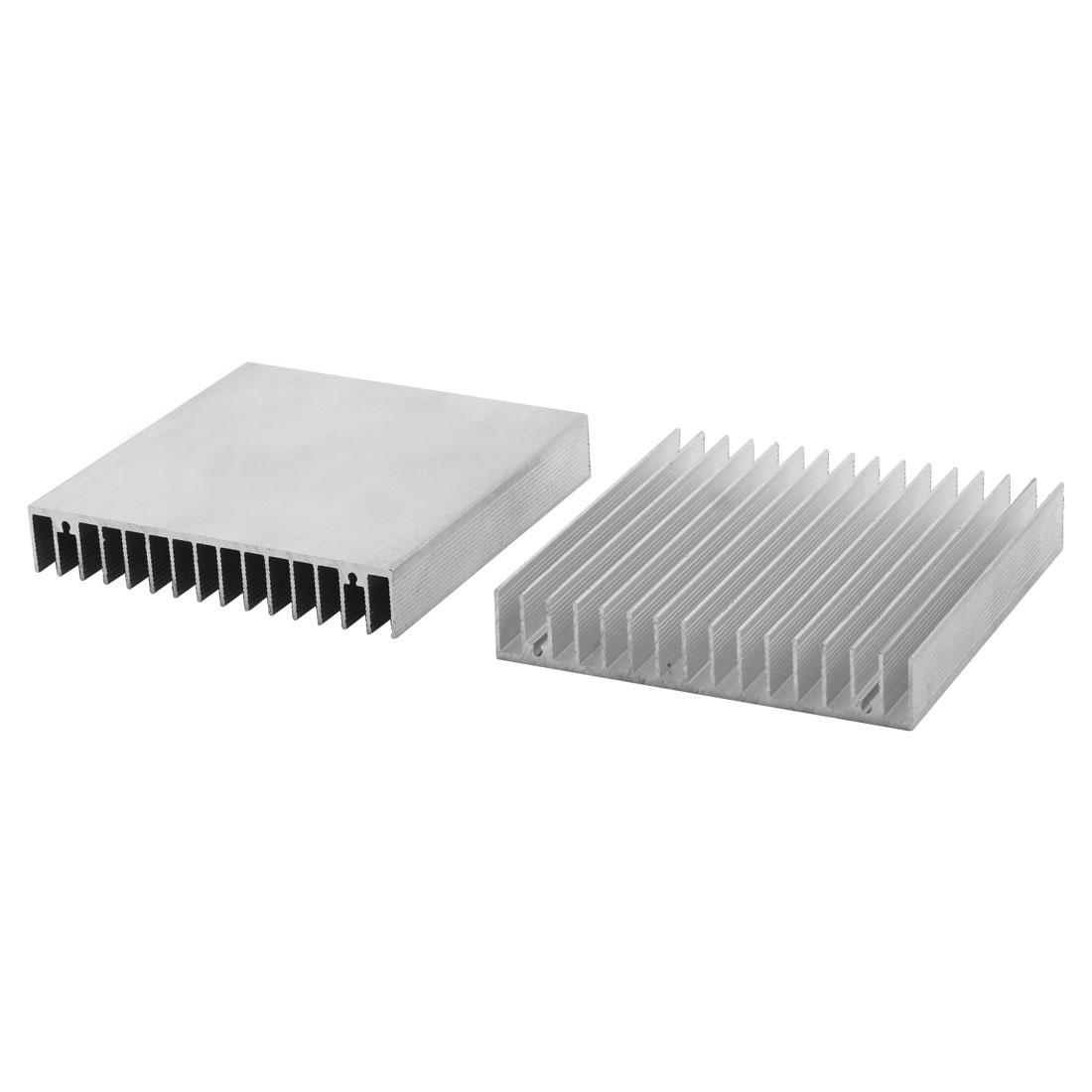 100x100x18mm Aluminum Heat Sink Radiator Fin Heatsink Silver Tone 2pcs