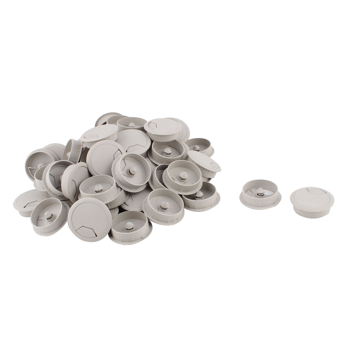 Computer Desk Table Plastic Grommet Wire Cord Cable Hole Cover Gray 50mm Dia 60pcs