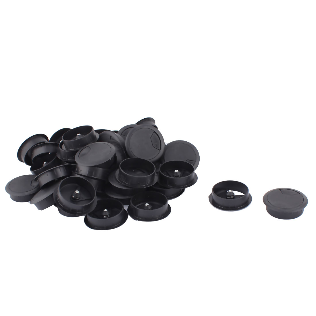 Computer Desk Table Plastic Grommet Wire Cord Cable Hole Cover Black 49mm Dia 40pcs