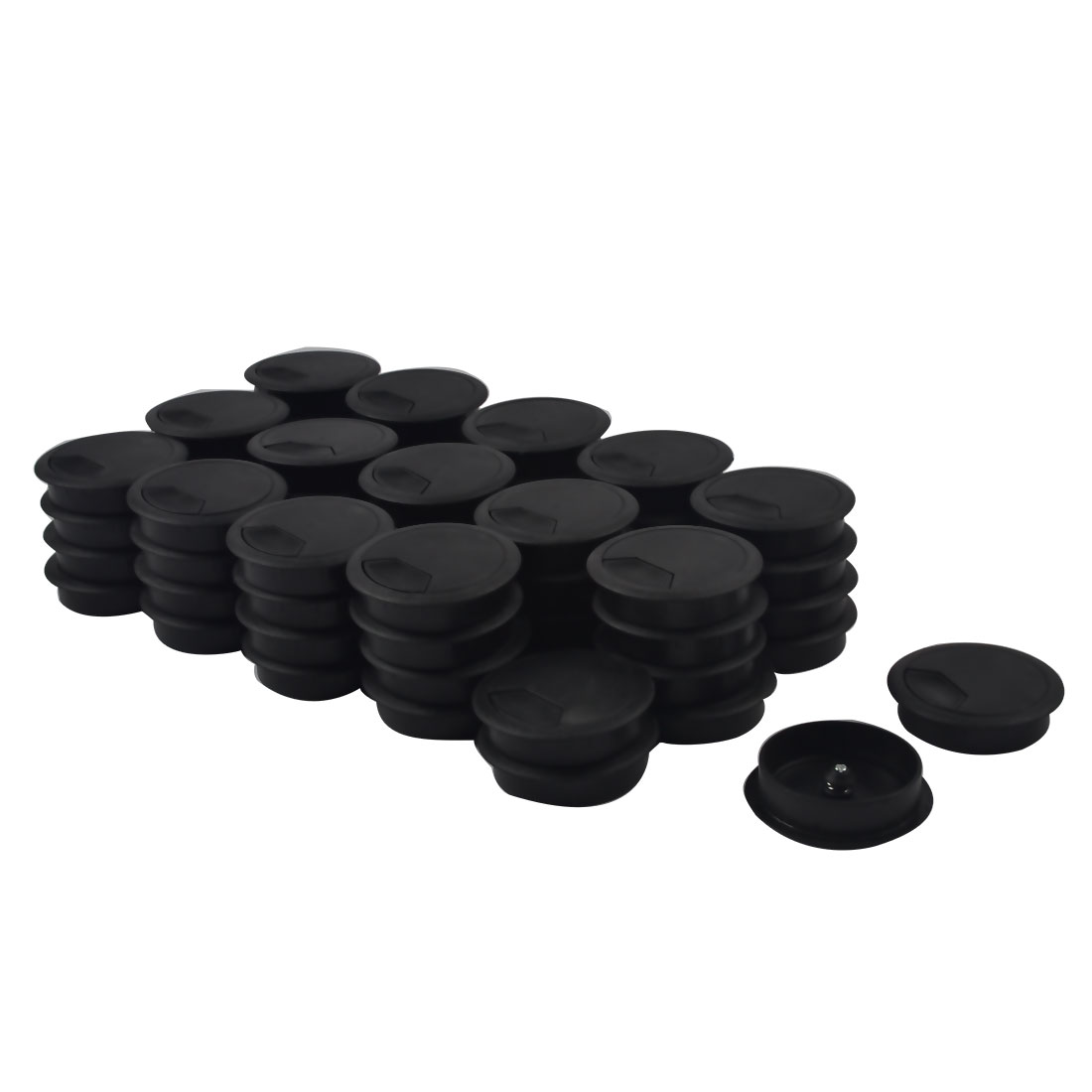 Computer Table Plastic Round Grommet Wire Cord Cable Hole Cover Black 60mm Dia 60pcs