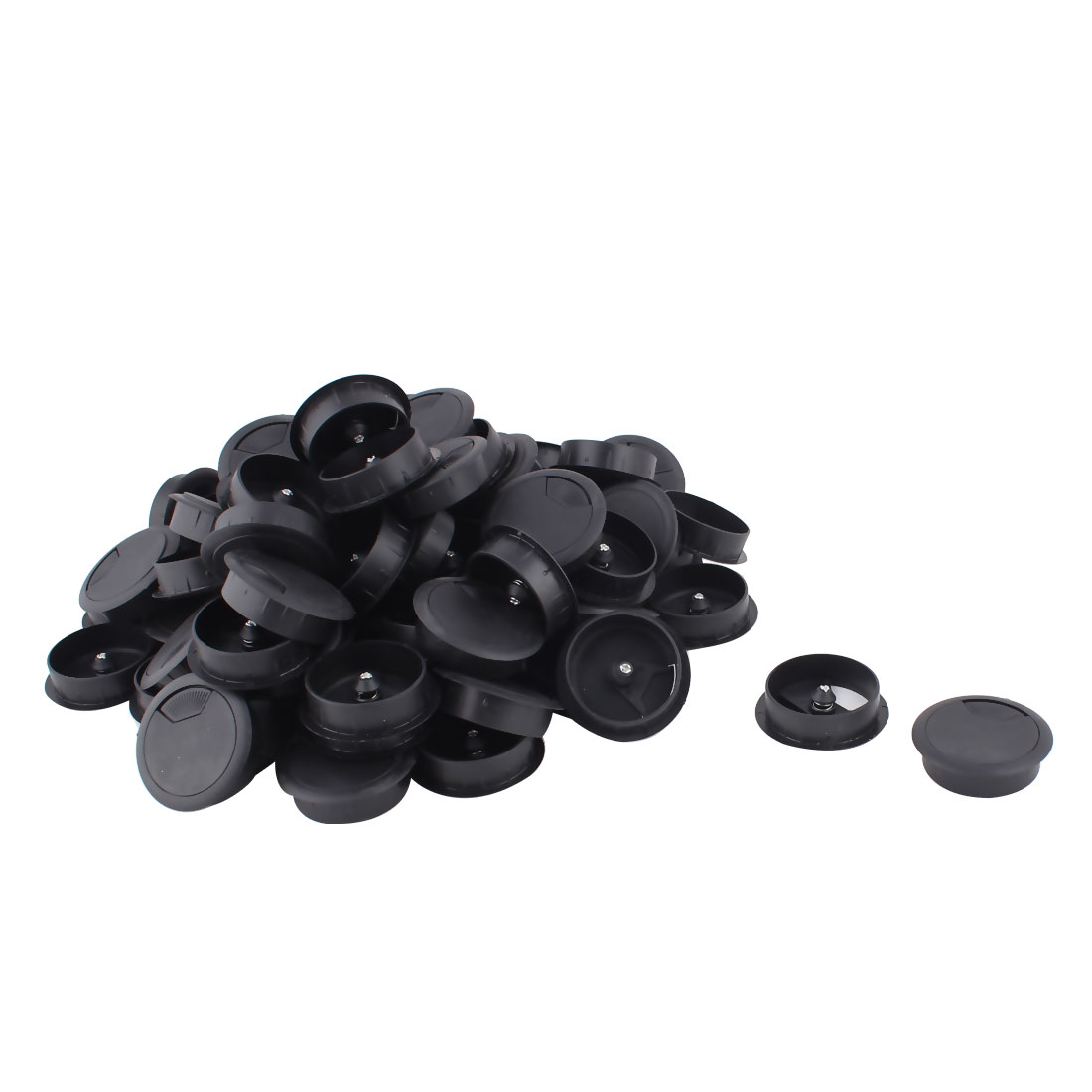 Computer Desk Table Plastic Grommet Wire Cord Cable Hole Cover Black 60mm Dia 100pcs