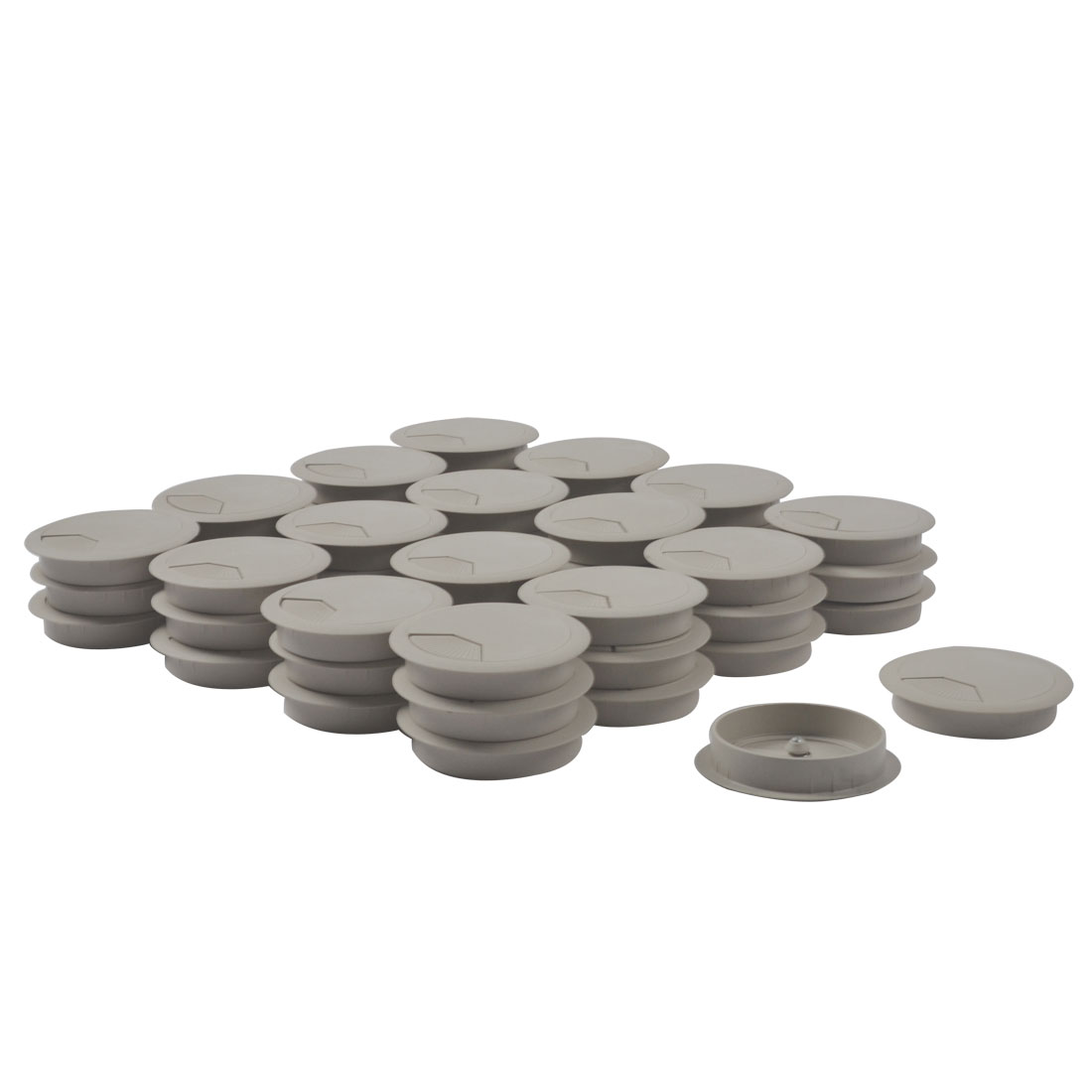 Computer Table Plastic Round Grommet Wire Cord Cable Hole Cover Gray 79mm Dia 50pcs