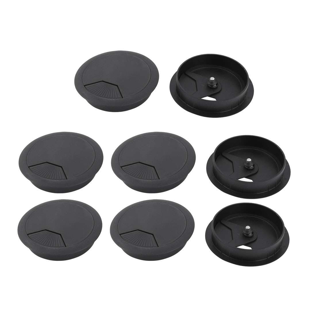 Household Office Plastic Desk Computer Adjustable Wire Cable Hole Cover Black 8 Pcs