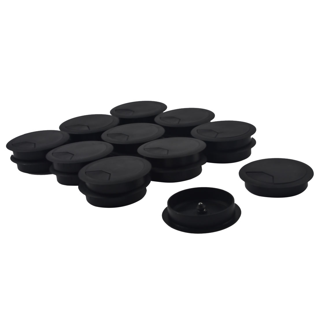 Computer Table Plastic Round Grommet Wire Cord Cable Hole Cover Black 79mm Dia 20pcs