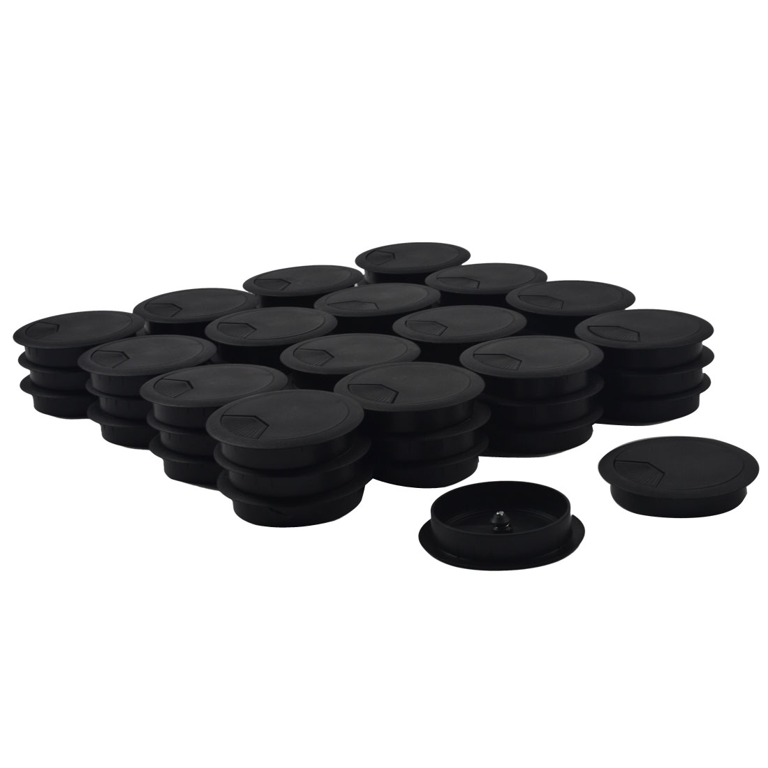 Computer Table Plastic Round Grommet Wire Cord Cable Hole Cover Black 79mm Dia 50pcs