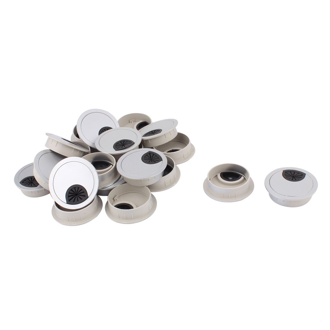 Office Computer Desk Table Plastic Grommet Wire Cord Cable Hole Cover 50mm 20pcs