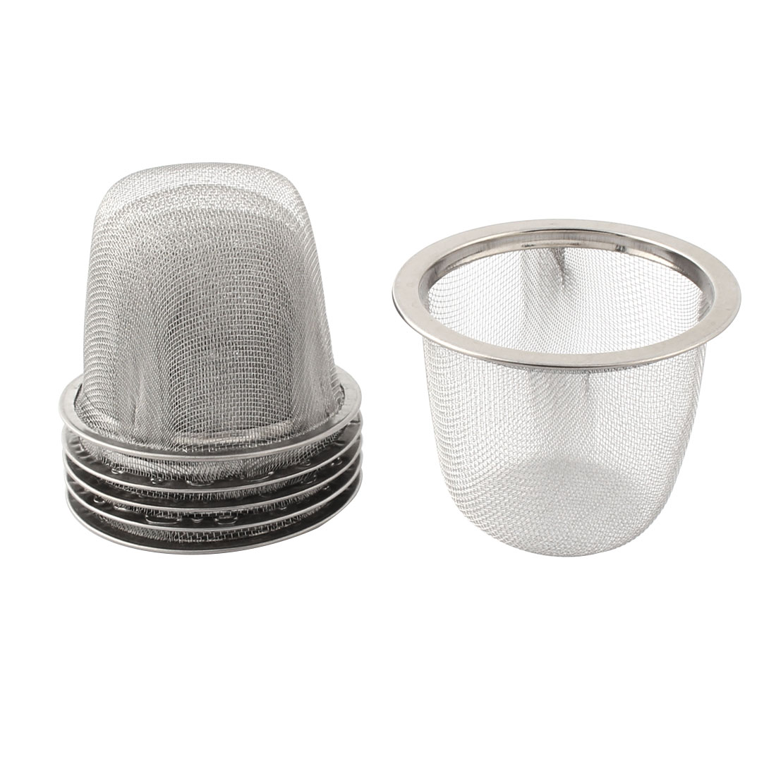 Tea Leaf Spice Stainless Steel Round Wire Mesh Filter Strainer 6cm Dia 6pcs
