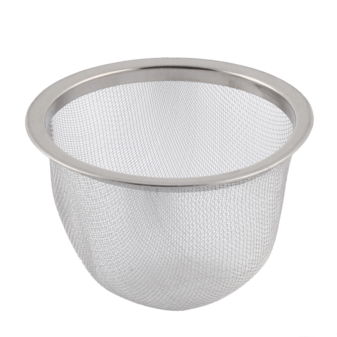 Home Living Room Metal Mesh Perforated Funnel Tea Filter Strainer Infuser Silver Tone