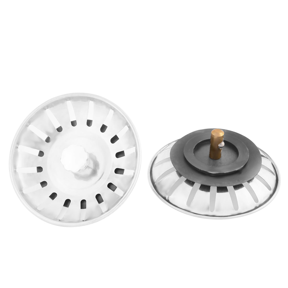 Kitchen Bathroom Mesh Hole Basin Disposer Sink Drain Strainer Stopper Silver Tone 2pcs