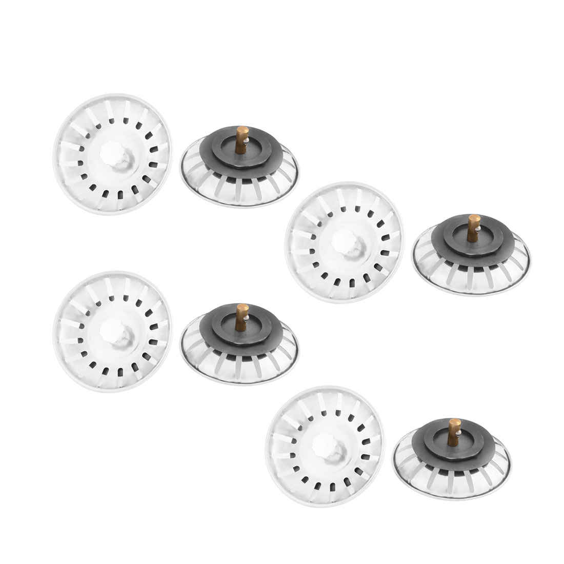 Kitchen Bathroom Mesh Hole Basin Disposer Sink Drain Strainer Stopper Silver Tone 8pcs