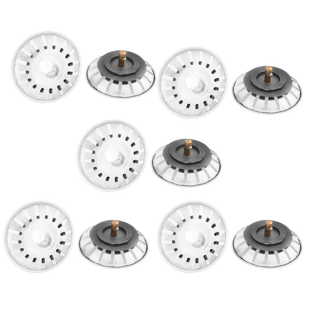 Kitchen Bathroom Mesh Hole Basin Disposer Sink Drain Strainer Stopper Silver Tone 10pcs