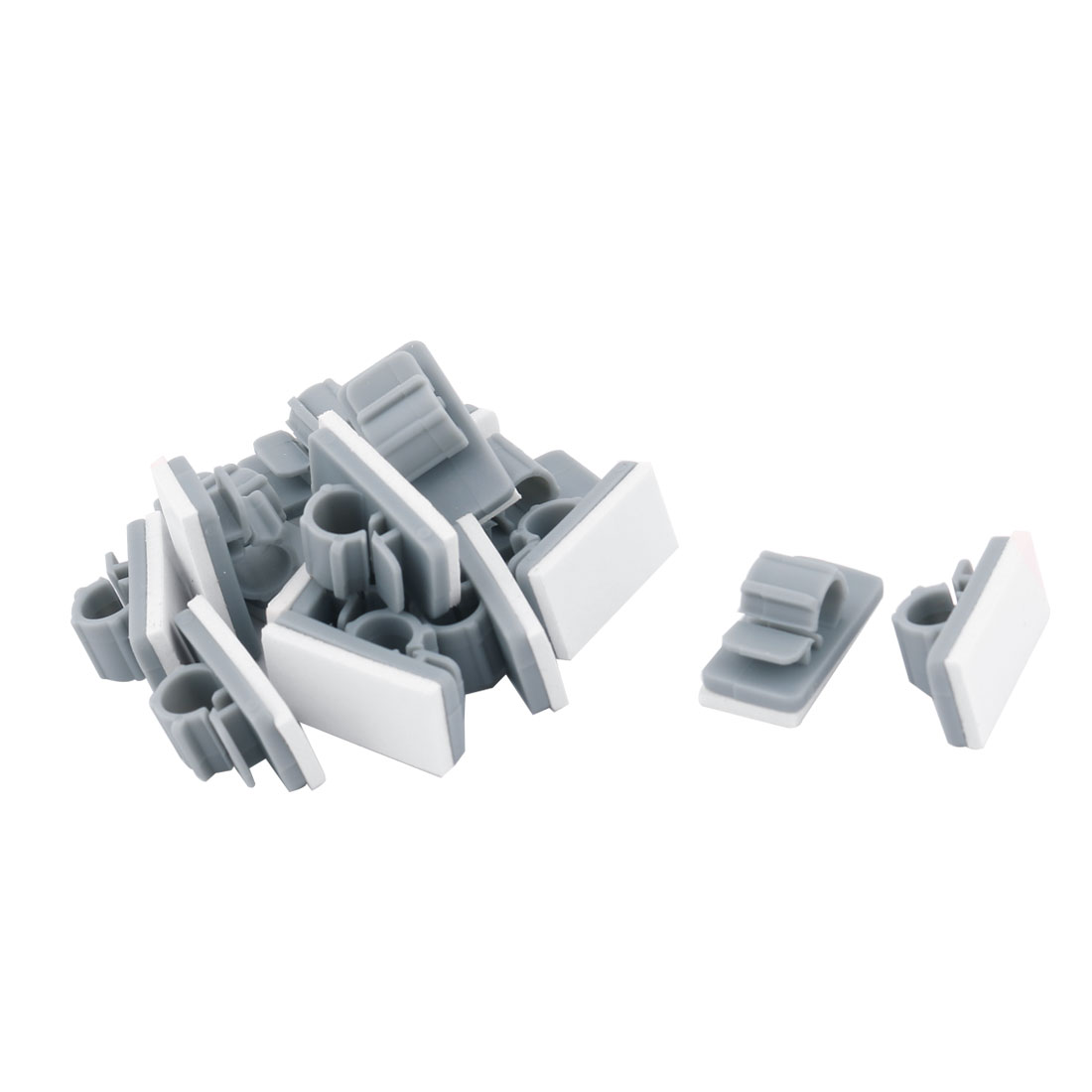 Offices Shops Plastic Paste Strap Wire Cable Fixer Saddle Clip Fastener Gray 15pcs