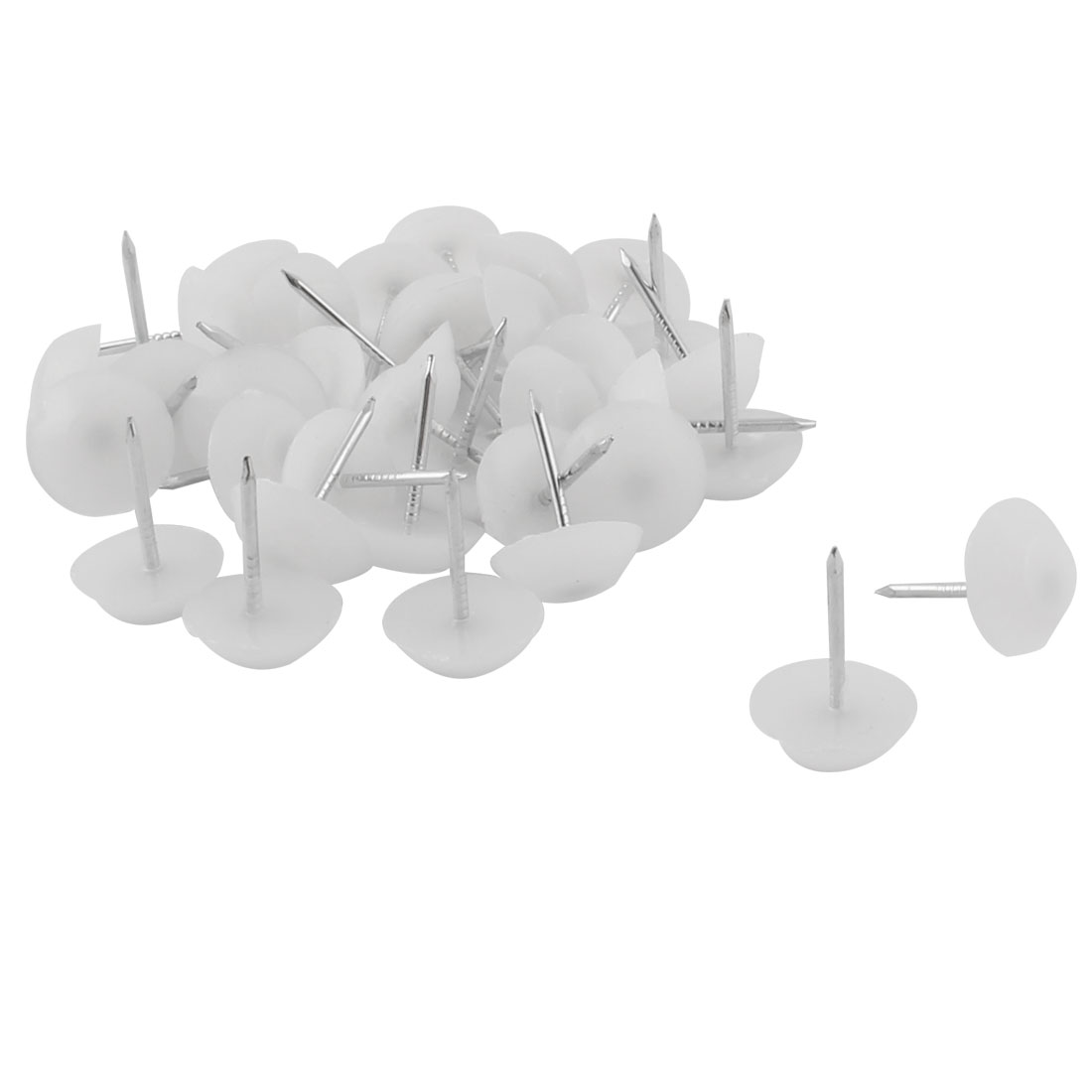 Furniture Chair Plastic Leg Feet Protector Non-slip Nails White 1.2cm Dia 30pcs