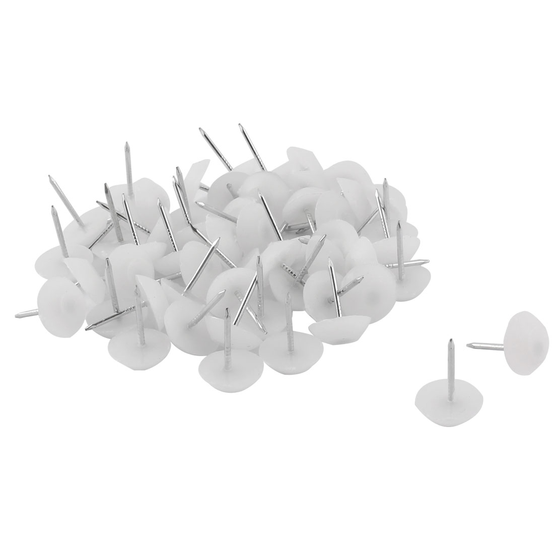 Furniture Chair Plastic Leg Feet Protector Non-slip Nails White 1.2cm Dia 50pcs