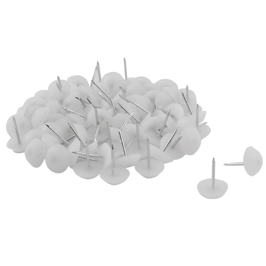 Furniture Chair Plastic Leg Feet Protector Non-slip Nails White 1.2cm Dia 80pcs