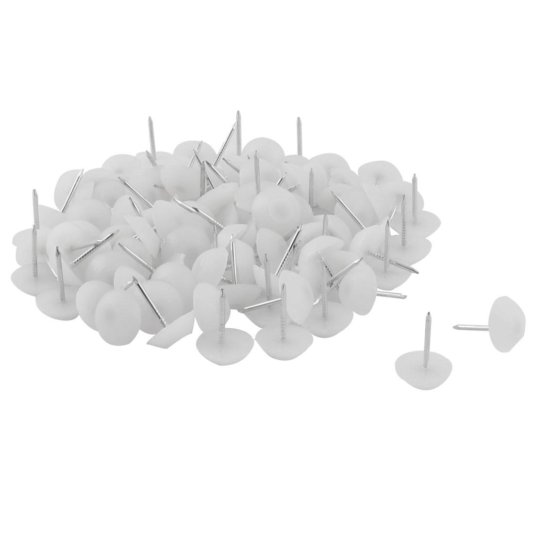 Furniture Chair Plastic Leg Feet Protector Non-slip Nails White 1.2cm Dia 100pcs