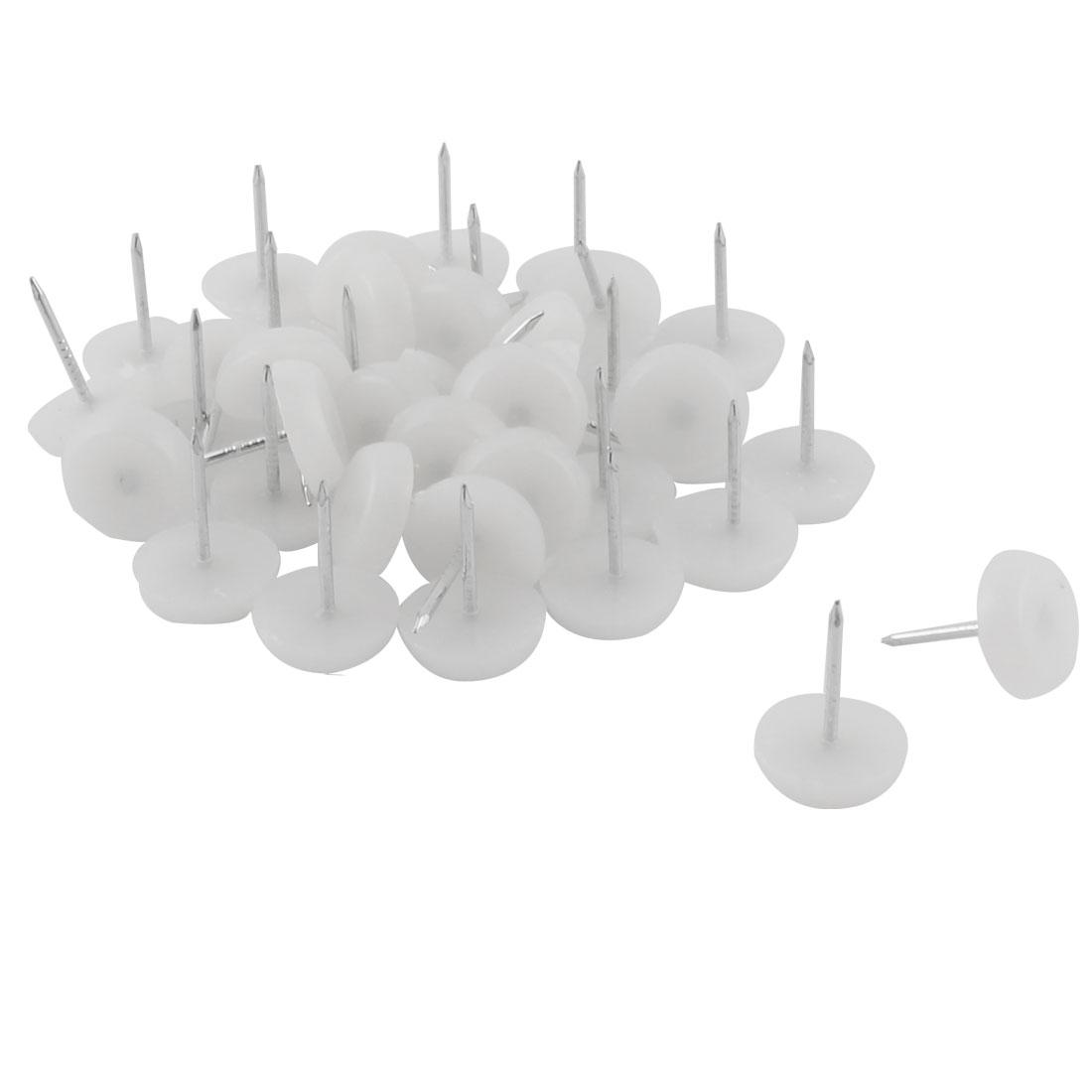 Furniture Chair Plastic Leg Feet Protector Non-slip Nails White 1.3cm Dia 30pcs